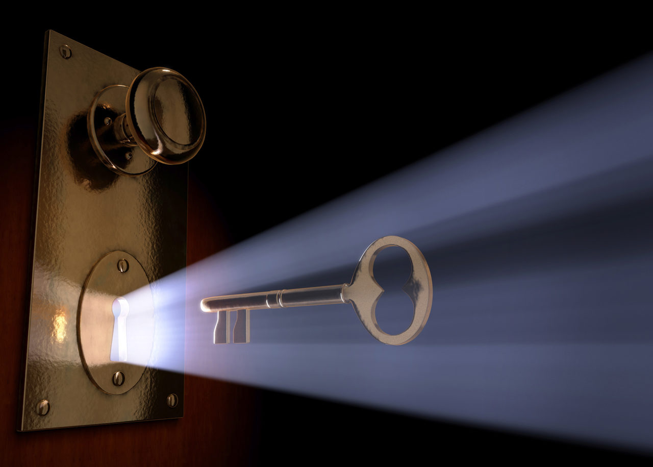 Conceptual 3D art of a key moving towards the key hole.