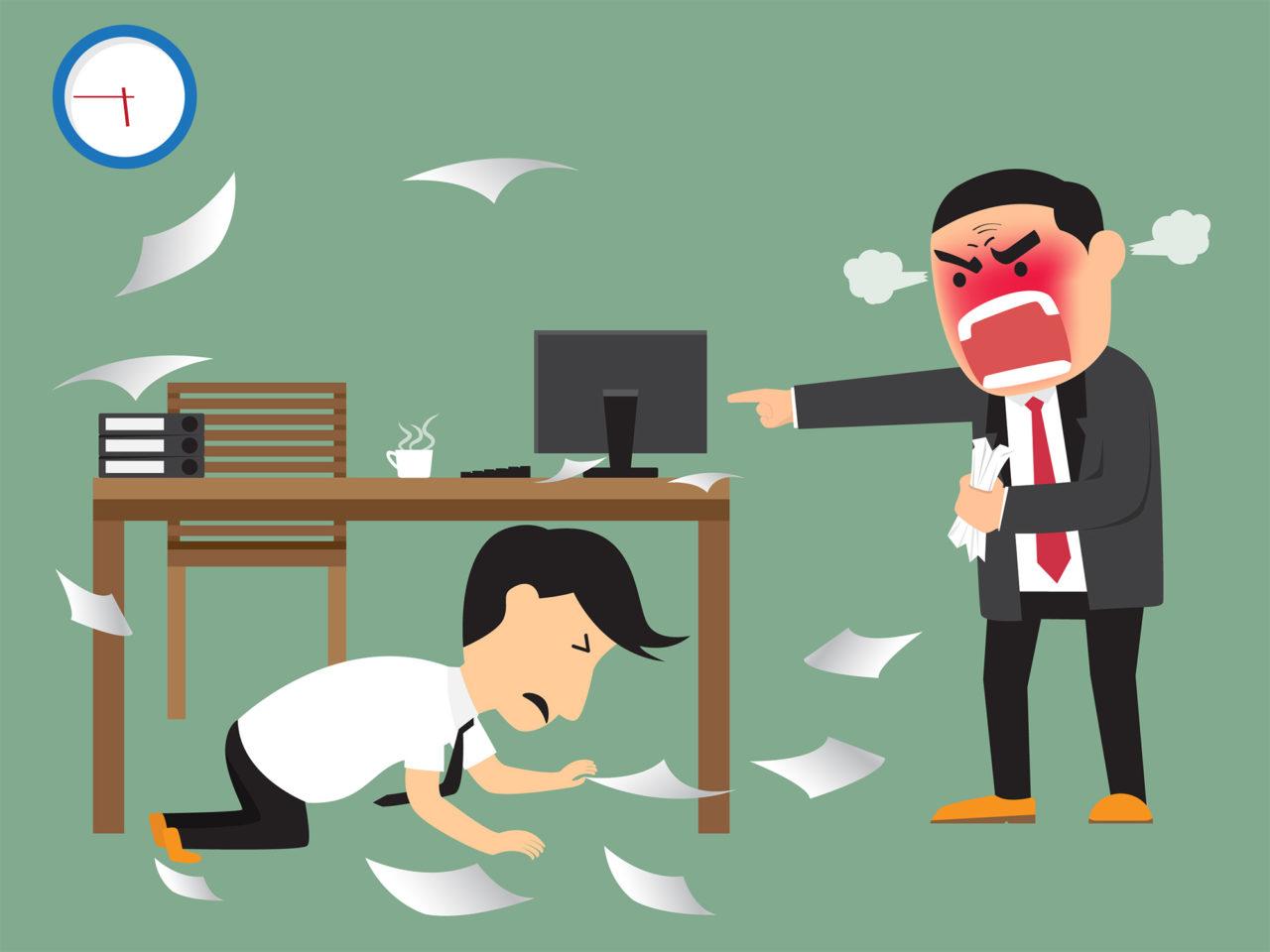 Angry boss shooting his employee on deadline, employee dodge und