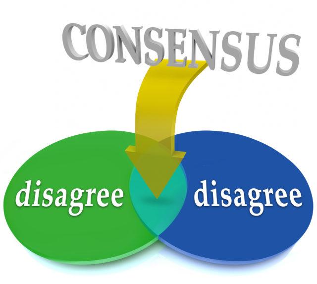 Consensus Venn Diagram Two Opposing Views Disagree Agreement