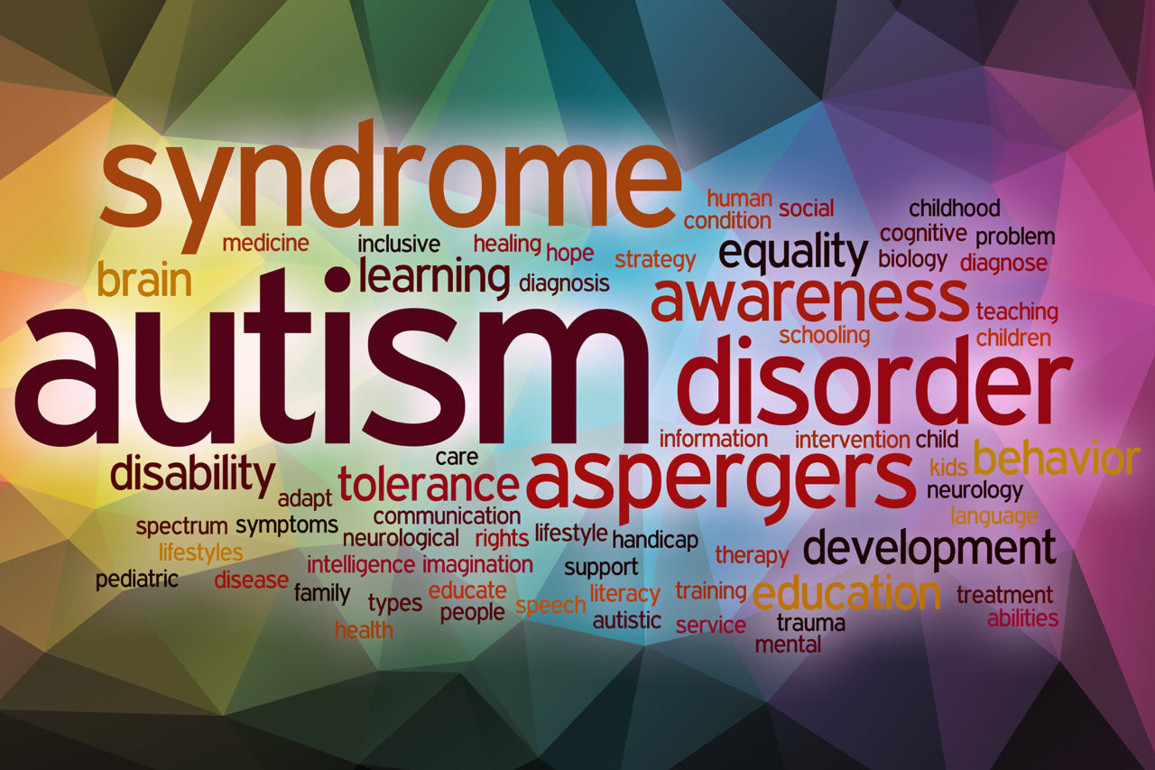 Autism word cloud with abstract background