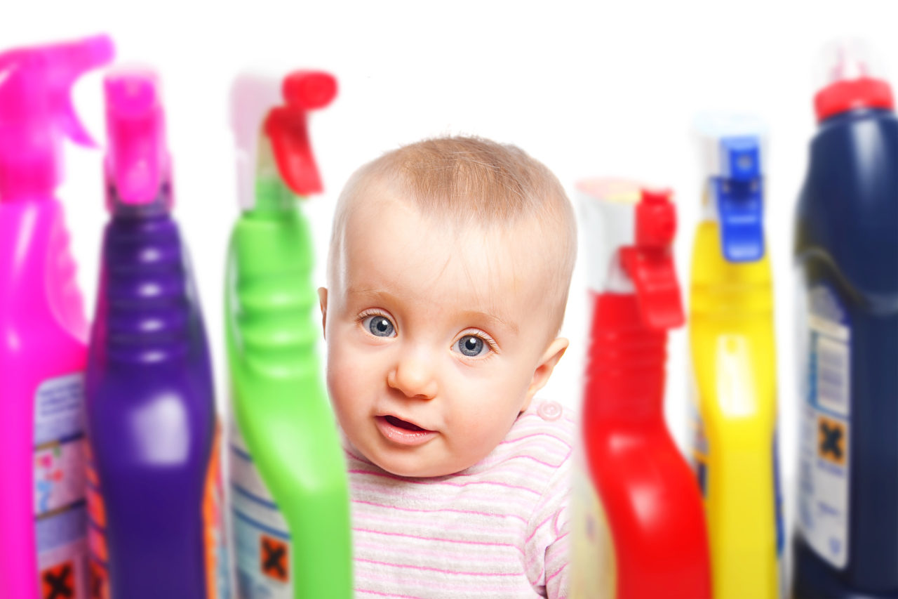 Watch out Baby wants to play with Cleaning supplies