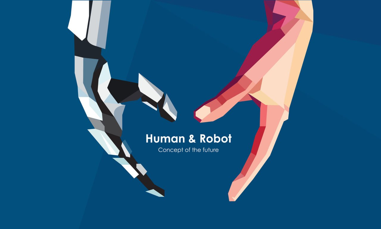 Human and robot hands. Concept of the future. Illustration сan be used for artificial intelligence business banner design. Vector illustration