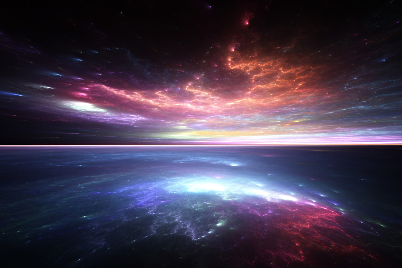 Fractal horizon, abstract render of alien sea and sky
