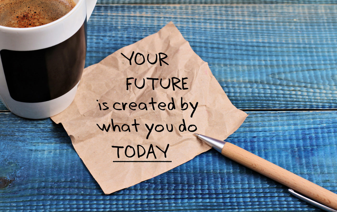 Inspiration motivation quotation your future is created by what you do today and cup of coffee