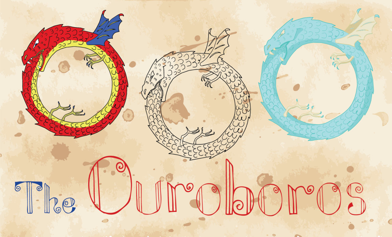 Set with the Ouroboros creature on paper background