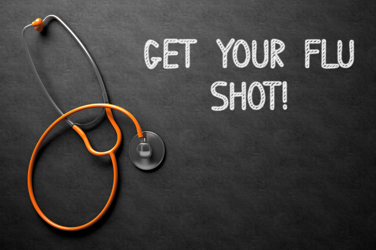 Chalkboard with Get Your Flu Shot Concept. 3D Illustration.