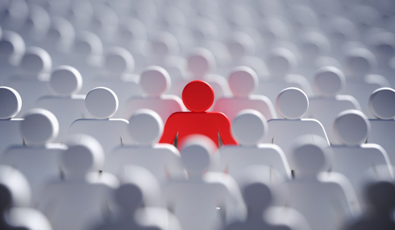 Liadership, difference and standing out of crowd concept. 3D ren