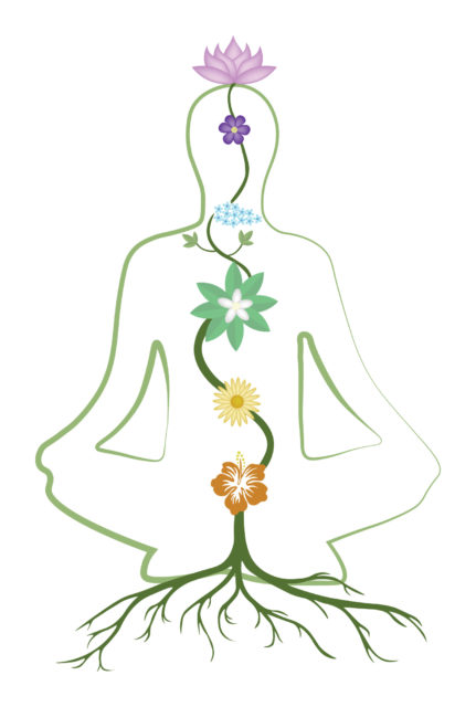 Practicing yoga, relaxation and meditation vector illustration