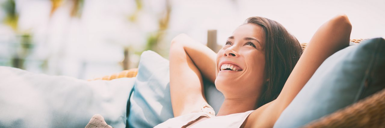 Relaxing home lifestyle happy woman