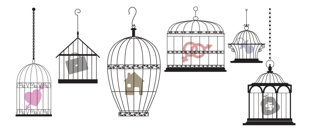 Symbols of personal interests and feelings locked in separate cages