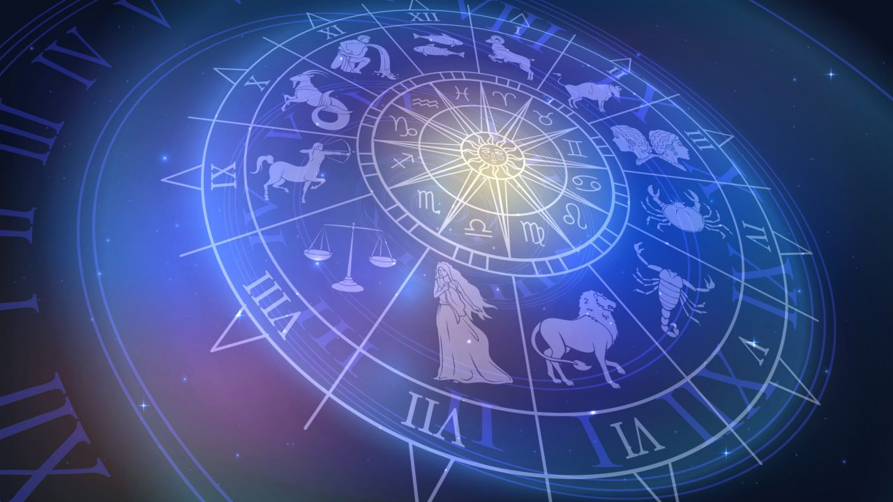 Wheel chart with zodiac signs in space, astrology and horoscope