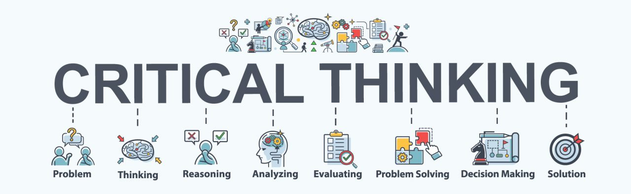Critical thinking banner web icon for problem solving